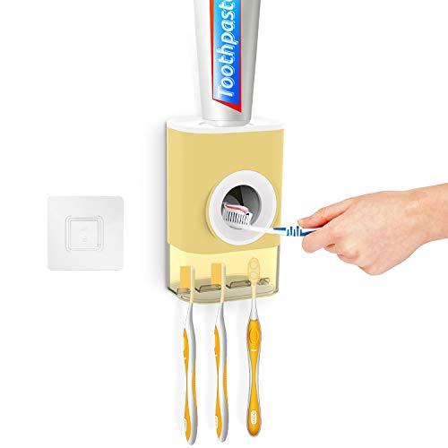 Tusenpy DispensadorPastaDental con PortaCepillodeDientes,Exprimidor Automatico de Pasta de...