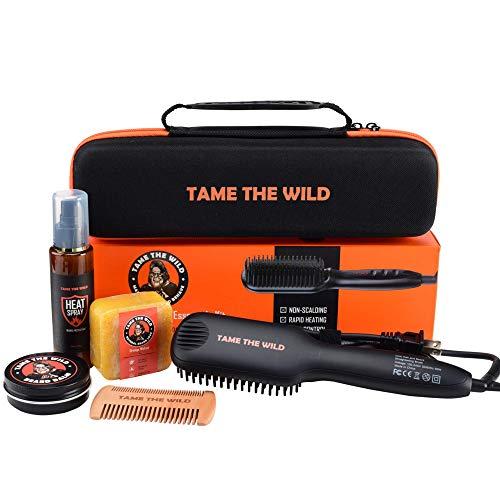 Tame's Beard Straightener Essentials Kit - Anti Scald Beard Comb Straightener- Heat Protection Spray - Beard Soap - Beard Balm - Detangle Comb & Storage Case. The Ultimate Beard Straightening Kit