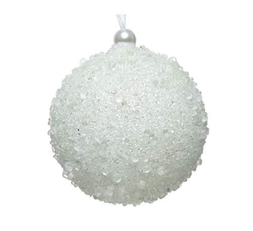irpot Palline di Natale Glitter Bianche White 8 cm KM-45768 Decorative (12 Pezzi)