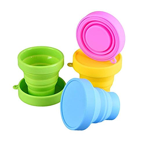 Collapsible Cup Compact Silicone, Reusable Food Grade Folding Mug with Lids, Expandable Retractable Drinking Set, Portable, Pocket Size for Outdoor Camping Travel and Hiking