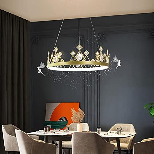 YDZB YDZB Luces colgantes Mesas de comedor modernas Corona de cristal Lámpara de techo de hierro LED Regulable en altura Candelabro ajustable Sala estar Dormitorio Cocina Lámpara iluminación (80cm)
