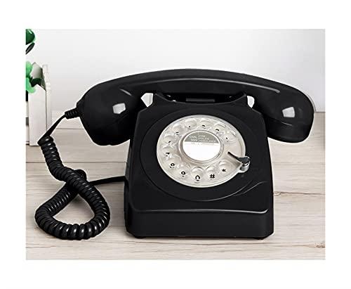 Teléfono fijo de diseño rotatorio retro para el hogar, telefono con cable de moda con tecnología clásica de botones de timbre de metal, diseño de la decoración de la ventana de la barra de la cafeterí