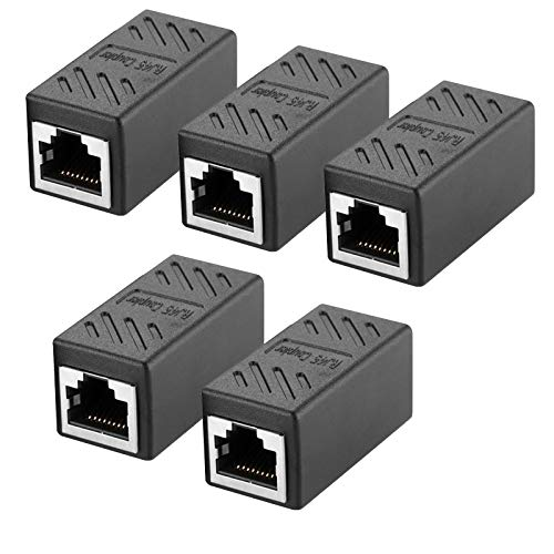 Acoplador RJ45, conector RJ45, Cat7, Cat6, Cat5e, cable de red hembra a hembra (5 unidades), color negro