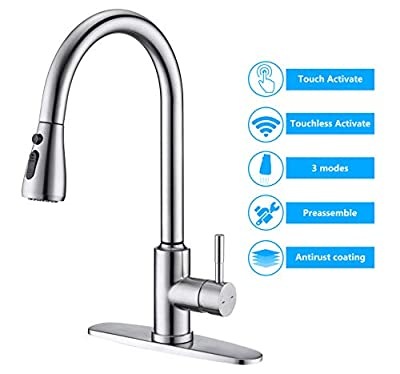 Touchless Kitchen Faucet, ARRISEA Touch-on Activation Kitchen Sink Faucets with Pull Down Sprayer, Brushed Nickel Smart Bar Sink Faucets with Three Water Flow Modes Spray Head F15027