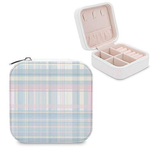 Small Jewellery Box, Mini Size Travel Jewelry Storage Case with Faux PU Lidded Light Weight, Rings,Earring,Necklace Organiser with Various Compartments/Tartan Plaid Line Tints And Shades Composite Mat