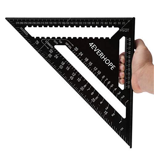 12 pollici Righello triangolo in lega di alluminio, 4EVERHOPE Triangle Shape Square Ruler Strumento di misura a 90 gradi per carpentiere