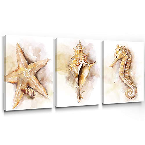 Adecuado Contemporary Wall Art for Bedroom Yellow Canvas Painting Coastal Picture Seahorse Prints Starfish Artwork Seashell Home Decor Ready to Hang for Living Room Bathroom 12x16 Inch, 3 Panels