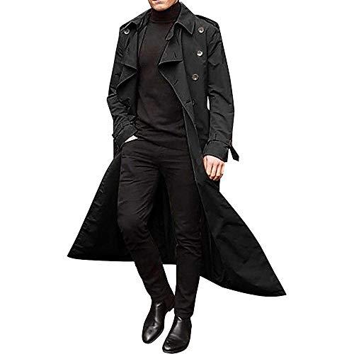 gabardina larga para hombre, solapa delgada, cinturón cruzado, chaqueta cortavientos, abrigo con botones a prueba de viento