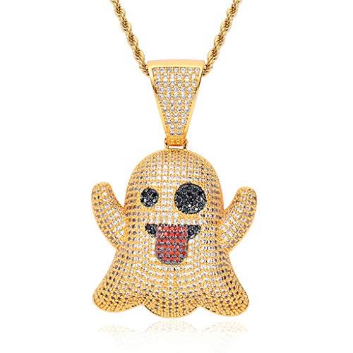 Emoji Hip Hop Halskette Spit Tongue Funny Expression Hiphop Pendant Street Hipster Full Zircon Schmuck,Gold