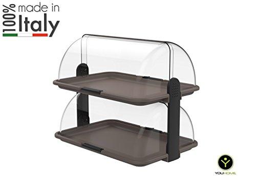 youhome vitrina pasteles doble estante, Trend Line 100% Made in Italy, Cruasán, Brioches, Buffet Pantalla de Bar (policarbonato, portadolci