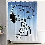 PKLUAS Duschvorhänge, modern, schimmelresistent, Calvin & Hobbes, mit Snoopy bedruckt, dekoratives Badezimmer mit Haken, 152,4 x 182,9 cm, Polyester, weiß, Einheitsgröße