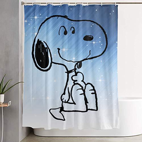 PKLUAS Duschvorhänge, modern, schimmelresistent, Calvin und Hobbes, mit Snoopy bedruckt, dekoratives Badezimmer mit Haken, 152,4 x 182,9 cm, Polyester, weiß, Einheitsgröße