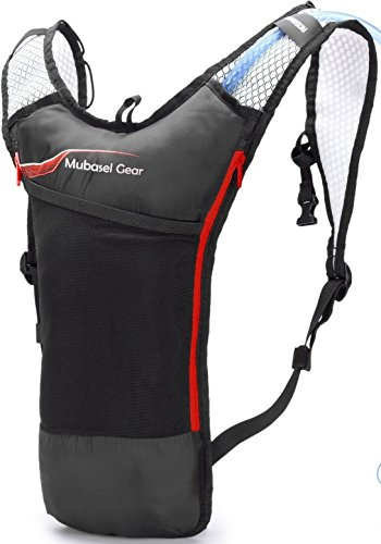 Mubasel Gear Hydration Backpack Pack with 2L BPA Free Bladder - Lightweight Pack Keeps Liquid Cool Up to 4 Hours - Great Storage...