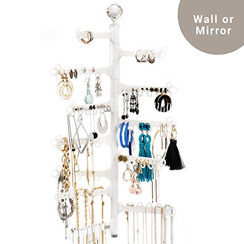 """All Hung Up ~ 12-Tier 17"""" ~ Wall OR Mirror Mount ~ Stud & Dangly Earrings (120 holes), Long necklaces, Bracelets, Rings ~ Huge Capacity ~ Hanging Jewelry Organizer Storage Holder Display - White"""