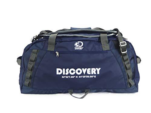 Discovery Adventures - Borsone impermeabile da viaggio in poliestere 600D, 75 l, ideale per la notte e il fine settimana, kit sportivo per uomini e donne (capacità: 71 x 33 x 33 cm) (blu)