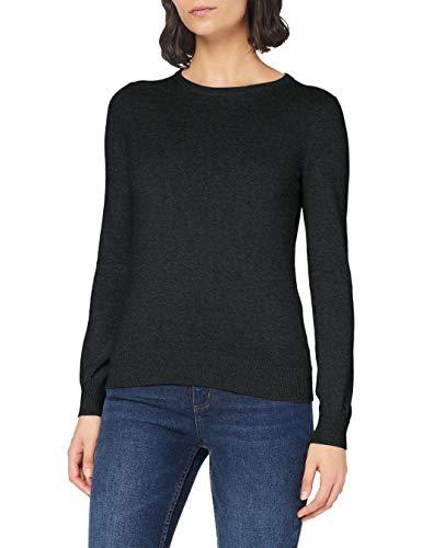 Marca Amazon - MERAKI Jersey de Algodón Mujer Cuello Redondo, Gris (Charcoal), 36, Label: XS