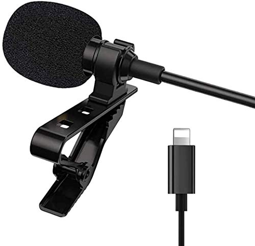 Omnidirectional Microphone for iPhone/iPad/iPod - Easy Clip-on Mic for YouTube,Tiktok, Interview, Conference for iOS Interface Device (Lighting Interface)