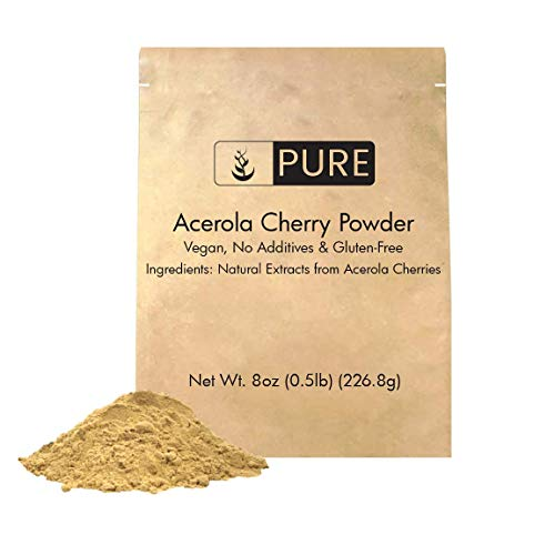 Acerola Cherry Powder (8 oz, ½ TSP per Serving) by Pure Ingredients, 100% Pure, Rich in Vitamin C & Immunity Boosting, All-Natural, Gluten-Free, Eco-Friendly Packaging