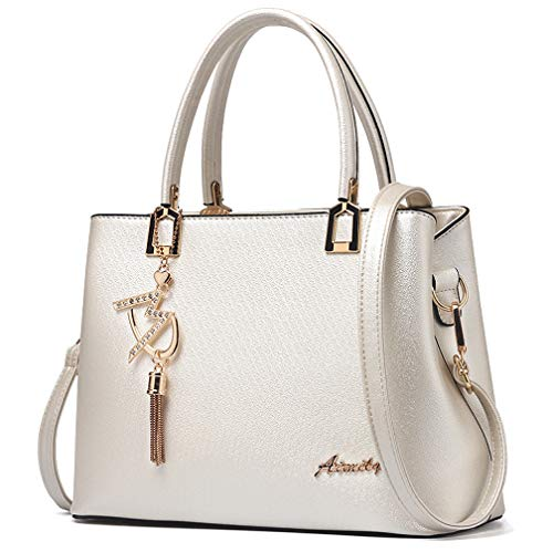 Womens Purses and Handbags Shoulder Bags Ladies Designer Top Handle Satchel Tote Bag (Beige)