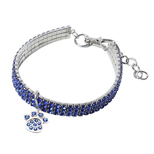 WSJF Collar for Perros Mini Perros Blancos Bling Chocker Collares Huella Elegante Collar de Diamantes de imitación Arnés (Color : BU, Size : M)