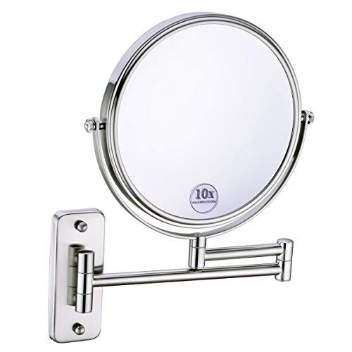 Anpean 8 Inch Double-Sided Swivel Wall Mounted Makeup Mirror with 10x Magnification, -