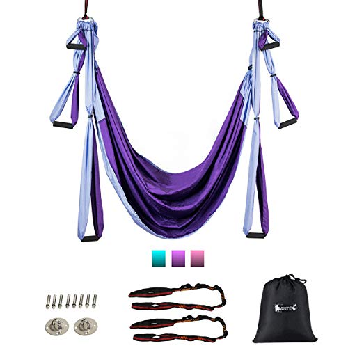 Sale!! Goplus Aerial Yoga Swing Set, Antigravity Ceiling Hanging Toga Sling with Three Different Len...
