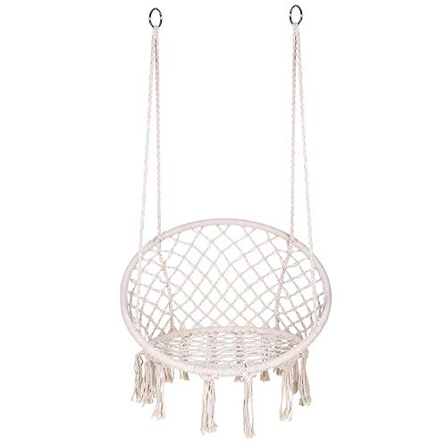 BJF Hamaca Silla Macrame Swing, Silla Colgante de algodón Redonda, Silla Hamaca con cojín para Interior, Exterior, hogar, Patio, jardín