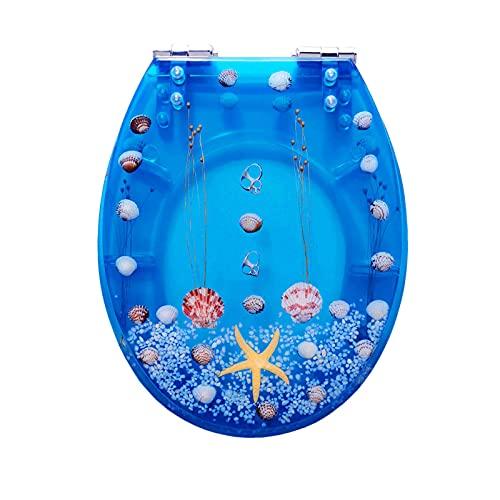 WEITONG Copriwater in Resina Blu, Tavoletta WC Universale U/V/O, Sedile WC Imbottito da 1.5 CM, Chiusura Silenziosa E Morbida, Riempimento Fisico, Tema Oceano