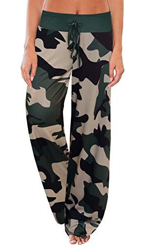 AMiERY Women's Camo Pants Pajamas Women Camouflage Juniors Comfy Casual Yaga Pants Wide Leg Lounge Pants Army Green M