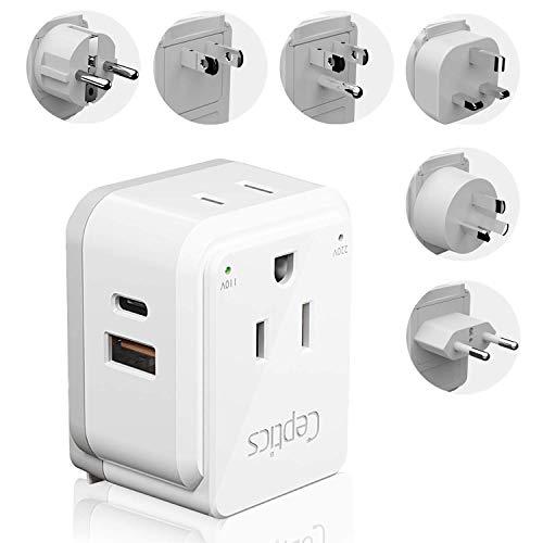 World Power Plug Adapter Travel Set Ceptics, Safe Dual USB & USB-C 3.1A 2 USA Outlet Compact &...