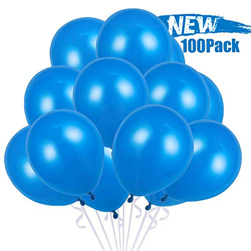 100 Stück Luftballons Blau, Luftballons Helium, Latexballon, Blau Latex Ballon für Junge 1 Geburtstag Baby-Duschen Taufe Konfirmation Party Dekoration