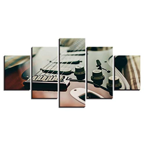 HOMEDCR Wandkunst Bilder Dekoration Poster Rahmen Wohnzimmer 5 Stücke Musikinstrument Guitar Tuner Moderne Malerei Auf Leinwand