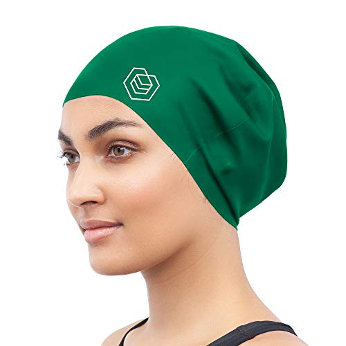 SOUL CAP - Large Swimming Cap for Long Hair | Designed for Long, Thick or Curly Hair | Adults, Kids and Children | Women & Men Silicone (Green)