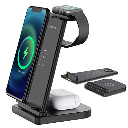 AgoKud 3 in 1 Wireless Charger Station for Apple, Detachable Wireless Charger for iPhone 12/11/XR/XS Max/Xs/X/8P/8, Wireless Charger Stand for Apple Watch 6/5/4/3/2/SE/Airpods Pro/2