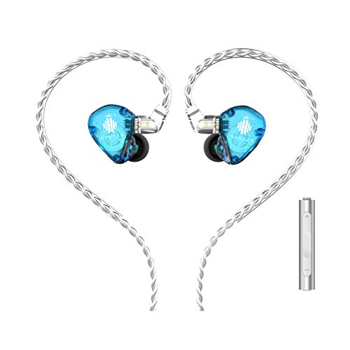 HIDIZS MS1-Rainbow In-Ear Monitor Headphones, Hi Res Wired Earphones, Diaphragm Hi-Fi Noise-Isolating Musician Earbuds with Detachable Cable 2pin 0.78mm for Android Smartphones/Audio Players (Blue)