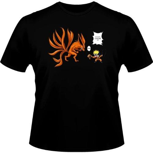 T-Shirt Noir Naruto parodique Naruto et Kyubi Le Biju à 9 Queues : Couché ! (Parodie Naruto)