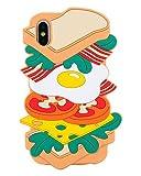 Beatuiphone iPhone Xs/X Case Soft Silicone 3D Cute Hamburger Pattern Protective Anti-Scratch Cover for Women Teen Girls Men(Orange Food)