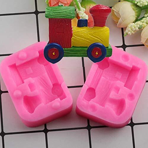 Tren de Juguete 3D Moldes de Silicona Molde de Arcilla para Velas Molde de decoración de Pasteles de cumpleaños Molde de Chocolate y Caramelo