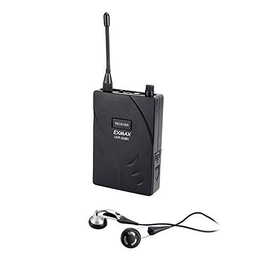 EXMAX UHF-938R Receiver for UHF-938 Professional UHF Wireless Tour Guide System Transmitter Simultaneous Interpretation Equipment- Tour Guiding, Teaching, Travel, Field Interpretation - Receiver Only