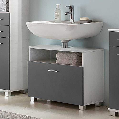 Pharao24 Bad Waschbeckenschrank in Grau und Weiß Made in Germany