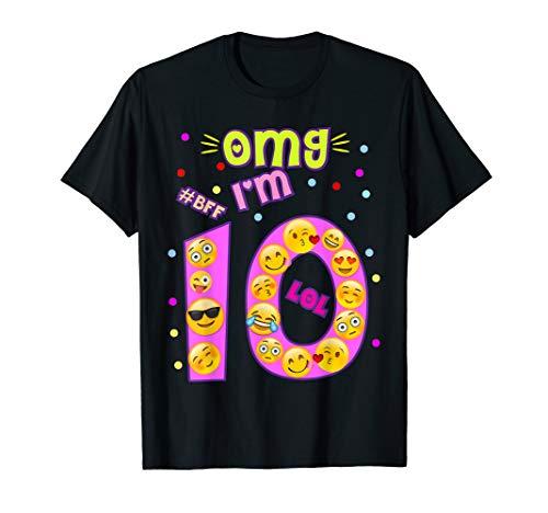 Emoji-Geburtstag Shirt für Mädchen OMG I 'm 10Zehn BFF LOL