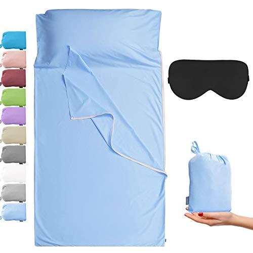 Cozysilk - Sacco a pelo per adulti, 100% cotone, lenzuolo da campeggio con cerniera a strappo (blu, matrimoniale, 180 x 221 cm)