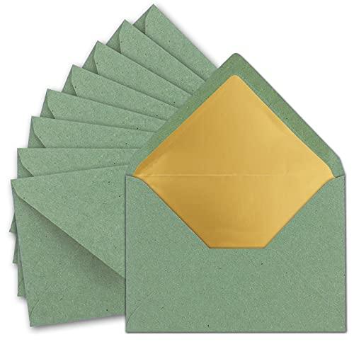10 sobres DIN C5, 15,6 x 22cm, de papel kraft en color verde eucalipto con forro de seda dorado, pegado en húmedo, sobres en blanco de papel reciclado, serie Umwelt