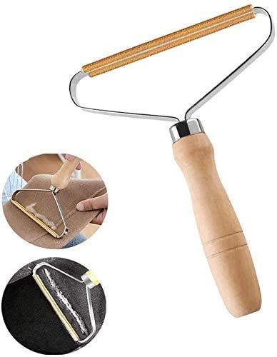 Afeitadora portátil para quitar pelusa, afeitadora manual para ropa con mango largo de madera que restaura su ropa y telas, cepillo doble reutilizable para quitar el pelo para suéter, abrigo, , tejido