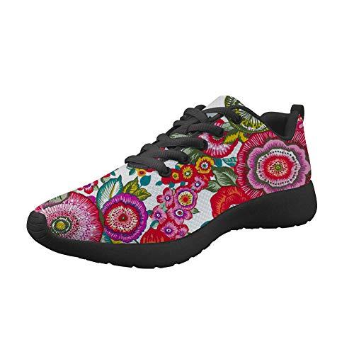 Amzbeauty Zapatillas deportivas de malla para correr para mujer con ajuste ligero, brillante, para deportes al aire libre, transpirable, estampado de flores 2-8UK, color, talla 34 EU