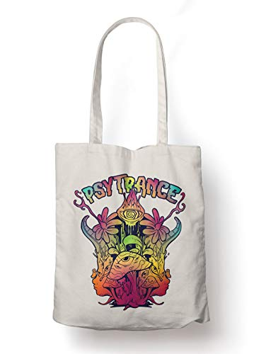 BLAK TEE Psytrance Trippy Mushrooms Organic Cotton Reusable Shopping Bag Natural