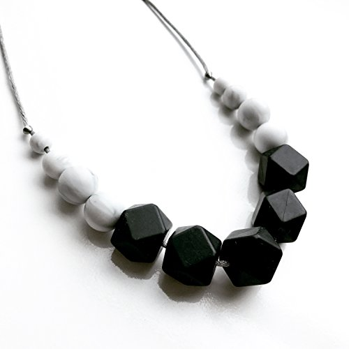 Mama Knows Silicone Teething Necklace - Freya Black & Marble