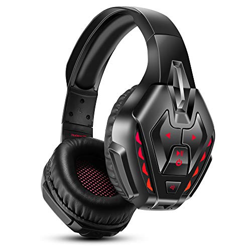 PHOINIKAS Gaming Headset für PS4, Xbox One, PC, Nintendo Switch, Wired Gaming Kopfhörer mit Noise Cancelling-Mik und 7.1 Bass Surround, Wireless Bluetooth-Headset für Musik, 40H-Spielzeit - Rot