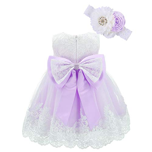 Bow Dream Baby Flower Girl Dresses Lace Bowknot Wedding Pageant Formal Tutu Gown Lavender 0-3 Months