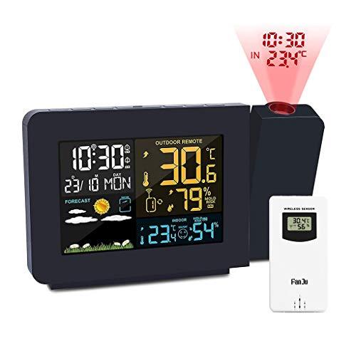 Projectieklokken Electronic Digital Projection Alarm Clock Weersinformatie Klokken Meteorologische weerstation met buitensensor, 4 verstelbare Projectie Helderheid, Display Datum Tijd Temperatuur Luch